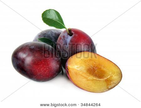 Natural Plums on white, Isolated