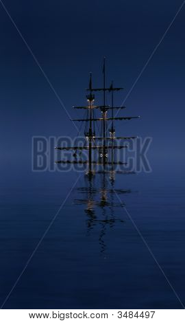 Night, Ship, Water, Sea, Sailing, Nautical, Sky, Vessel, Sailboat, Dusk, Reflection, Tranquil, Silho