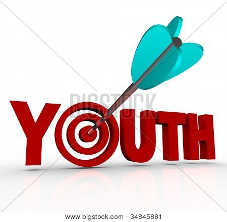 The word Youth with an arrow in a bulls-eye in place of the letter O, symbolizing the goal of staying young and stopping the aging process to have eternal energy, vitality and life