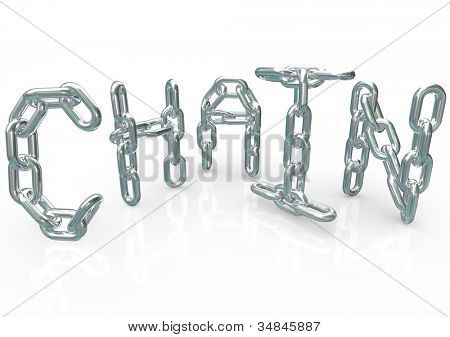 Many chains connected together and linked to form the word Chain, symbolizing unity, teamwork, organization, team processes, procedure and synergy