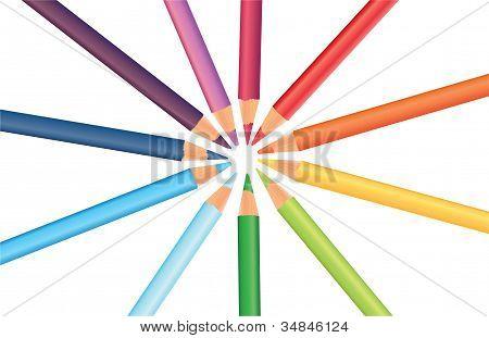 Multicolored Rainbow Pencils In A Circle, Vector