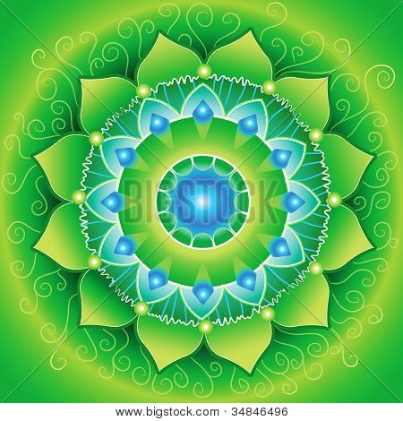 Circle Background, Bright Green Mandlala Of Anahata Chakra, Vector