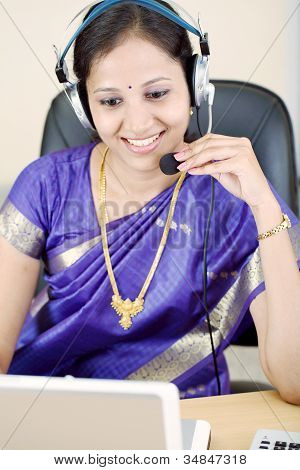 Happy Young Business Woman With Headset