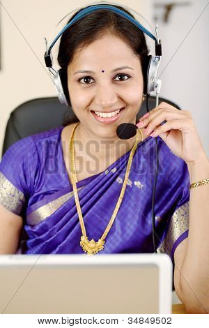 Traditional Indian Woman With Headset
