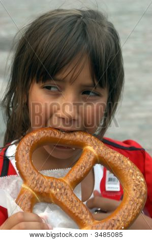 Enjoying A Pretzel