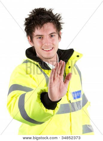 Security Guard With A Stop Sign