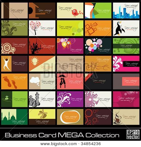 Mega collection of 35 abstract professional and designer business cards or visiting cards on different topic, arrange in horizontal. EPS 10.