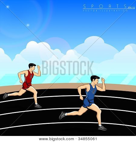 Illustration of athletes, running on race track background. EPS 10.