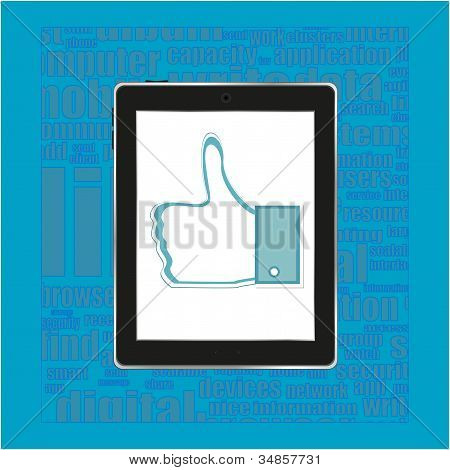 Abstract Thumb Up Like Hand Symbol On Tablet Computer Pc ipad