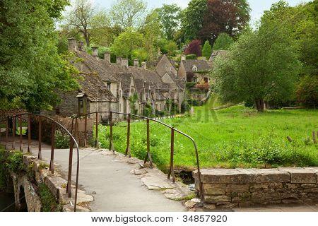 Bibury. Traditional Cotswold cottages in England, UK. spring. Bibury