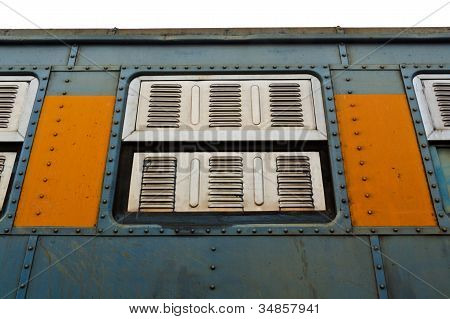 Vintage Railroad Container Windows With Rusty And Old Color.