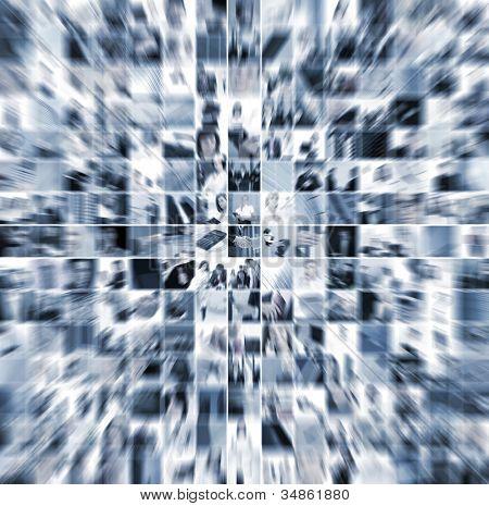 Collage de negocios compuesta por 225 fotos de negocios