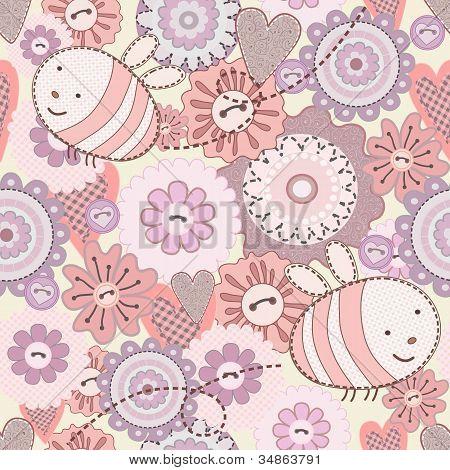 Flores e abelha bonito sem costura
