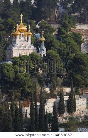 Golden domes of the Church of Mary Magdalene and cypresses. Mount of Olives, Jerusalem