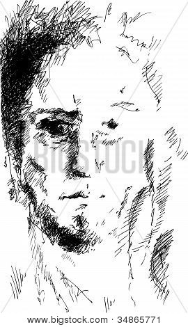 Abstract Man Portrait, Pencil Drawing Style, Vector