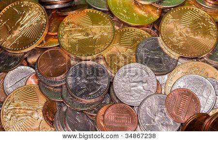 Us Coins Including One Ounce Pure Gold