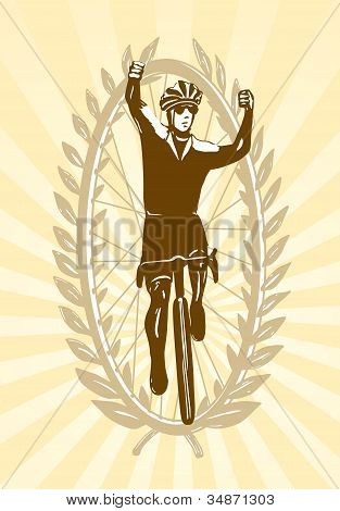 Cyclist celebrating his win, victory