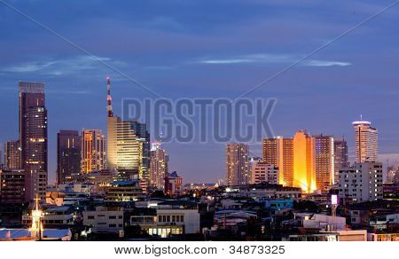 Aerial view of Bangkok skylines building at downtown area at dusk