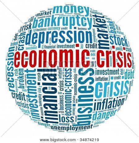 Crise econômica em colagem de palavra