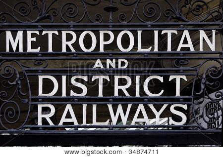 Metropolitan and district railways sign in London, UK