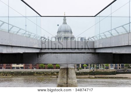 The Millenium Bridge and St Paul's Cathedral in London, UK