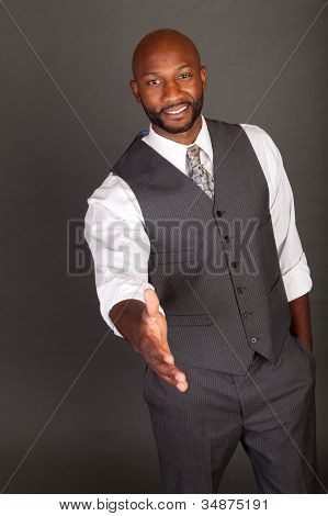 Young Black Business Man Handshake