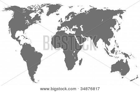 World Map, Isolated