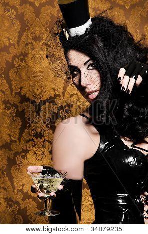 Sexy Retro Cabaret - Glamorous Vixen holding a Vintage Glass