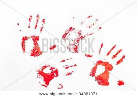 Four red handprints against a white background