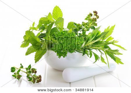Fresh herbs from garden in the mortar