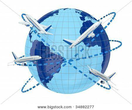 Concepto de viajes de avión