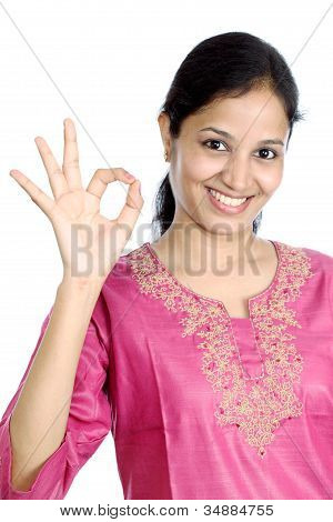 Young Woman With Ok Sign