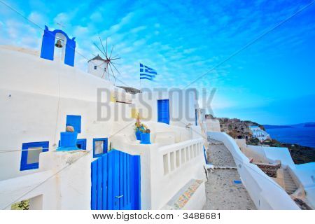 Scene From Oia Village On Santorini Island