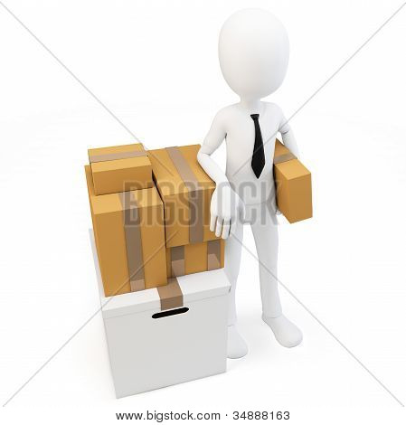 3D Man Businessman With Moving Boxes