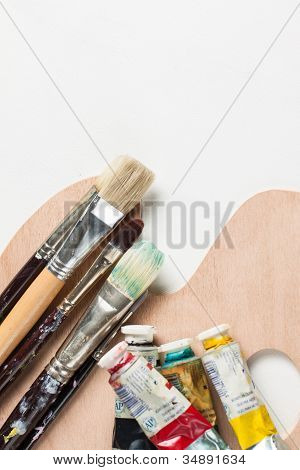 Paint Brushes And Oil Paints