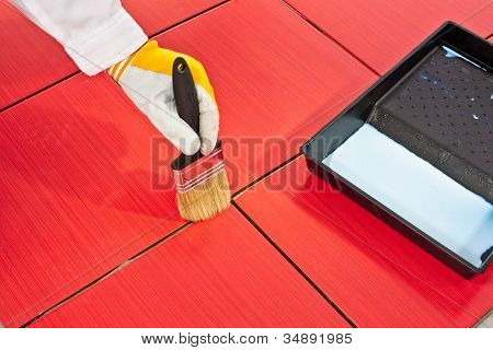 Brush Primer Grout Of Red Tiles Resistant