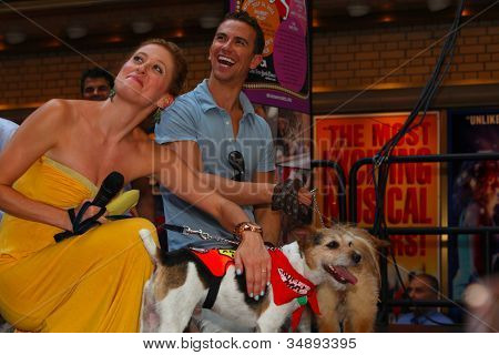 Caissie Levy & Richard Fleeshman (Ghost) with Jack Russell