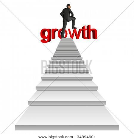 High resolution concept or conceptual businessman in top of white stair over a red 3d growth text isolated on white background,for business,man,money, progress,achievement,wealth,market or improvement