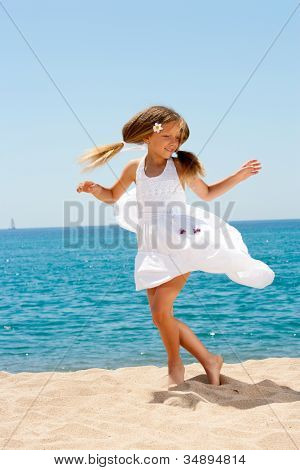 Cute Girl In White Dress Dancing On Beach.
