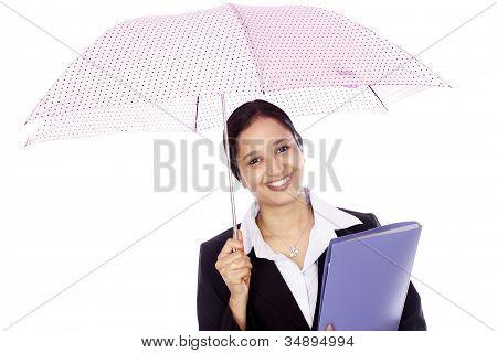 Business Woman Holding An Umbrella