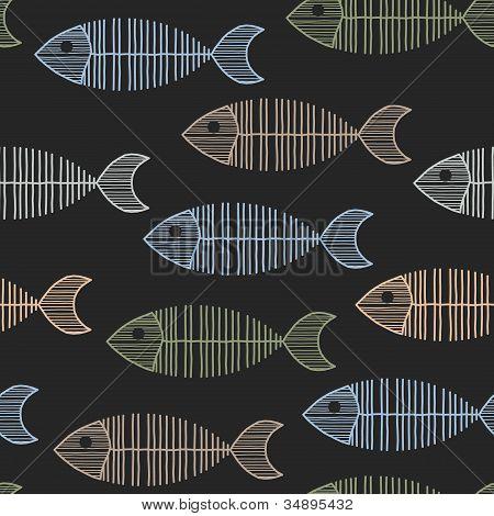 Seamless Tile With 50S Retro Fish Bone Pattern
