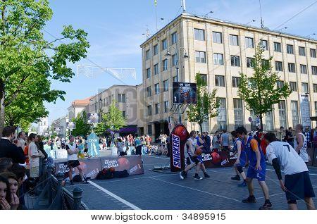 People Play Basketball In Gediminas Prospect