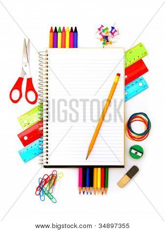 Notebook and school supplies