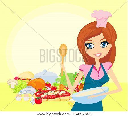 Bela dama de cozinha