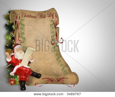Christmas Wish List On Old Parchment Scroll