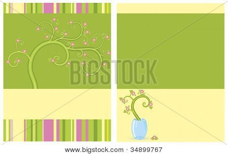 Floral flayer two sides vector illustration