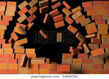 Brick Wall Explodes On Black Background