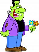 foto of frankenstein  - Cartoon illustration of Frankenstein holding a bunch of flowers - JPG