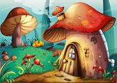stock photo of crimini mushroom  - illustration of red mushroom house on a blue - JPG