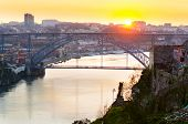 stock photo of dom  - view of Dom Luis I bridge at Porto - JPG